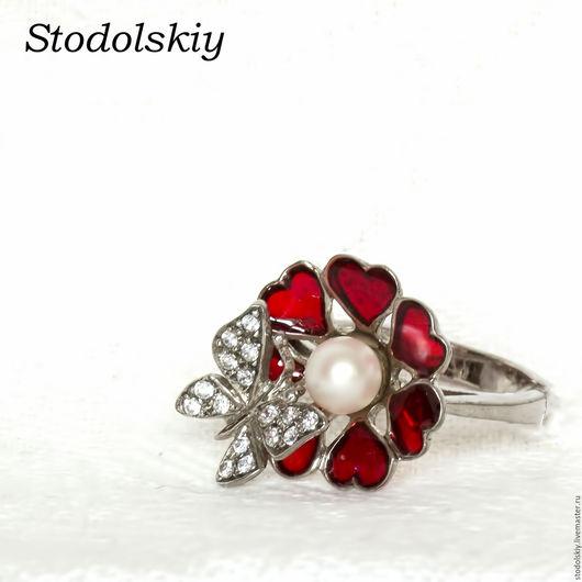 Кольца ручной работы. Ярмарка Мастеров - ручная работа. Купить Кольцо с эмалью. Handmade. Ярко-красный, серебряное кольцо