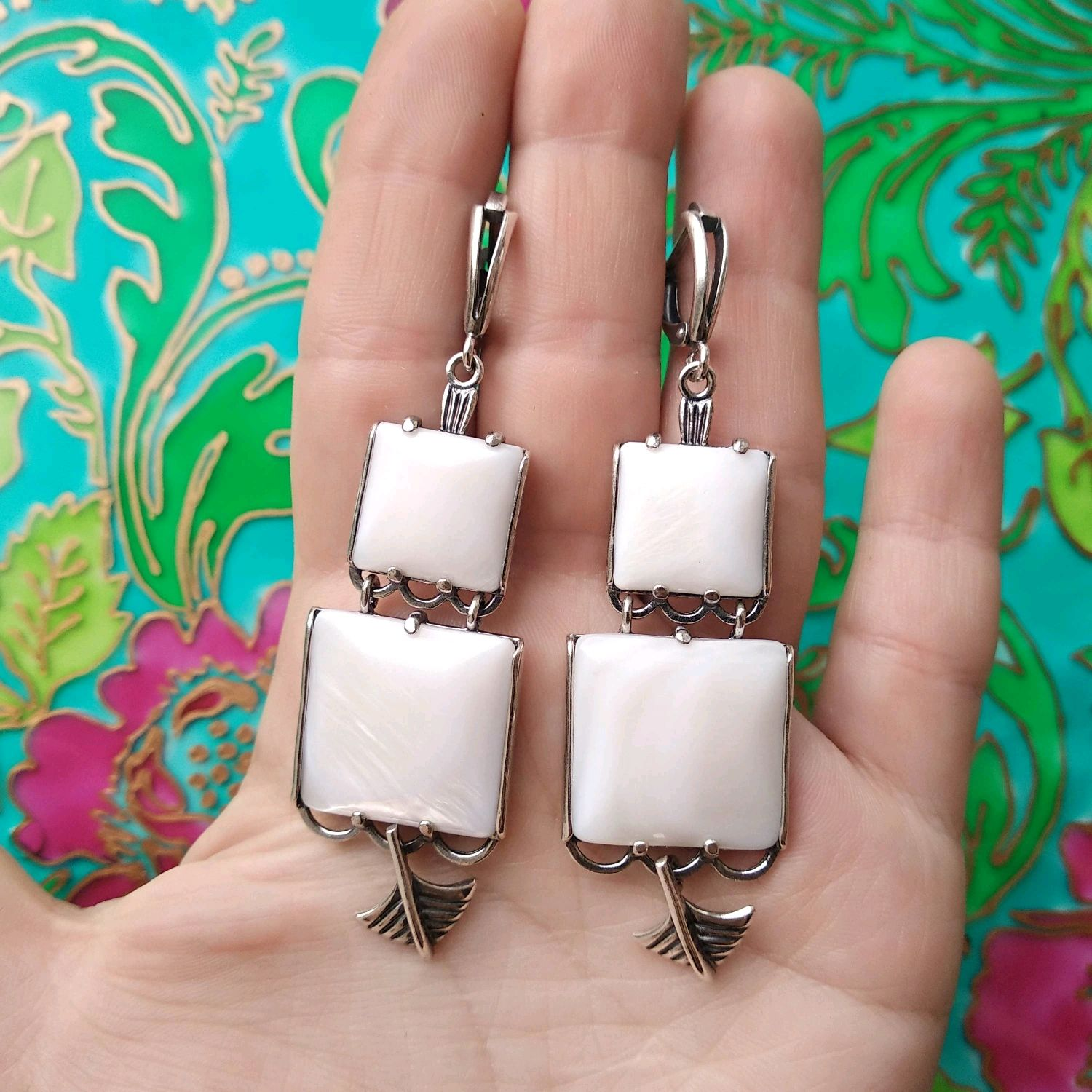 574 a Large earring with mother of pearl, silver plating, blackening, Russia, Earrings, Ivanovo,  Фото №1