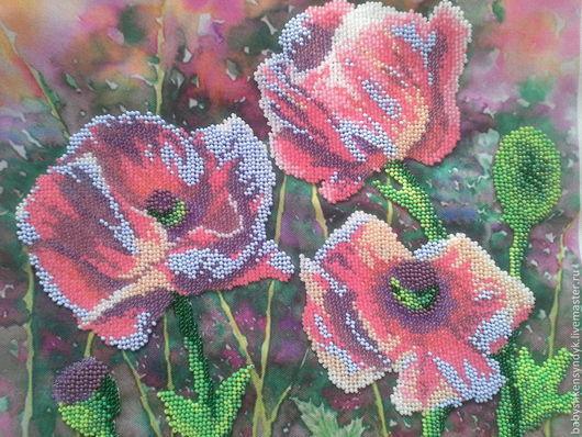 Картины цветов ручной работы. Ярмарка Мастеров - ручная работа. Купить Маковое поле. Handmade. Маки, салатный