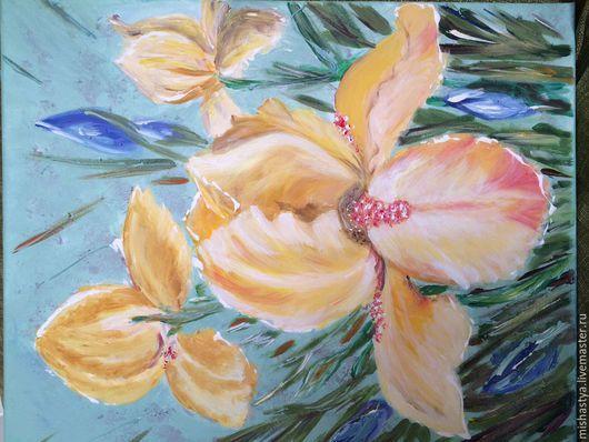 Картины цветов ручной работы. Ярмарка Мастеров - ручная работа. Купить Ирисы. Handmade. Желтый, хлопок