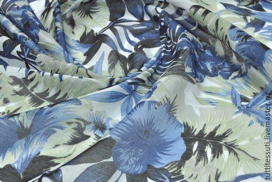 """Шитье ручной работы. Ярмарка Мастеров - ручная работа. Купить Батист """"Цветы"""" 12-010-0046. Handmade. Синий, вискоза"""
