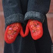 """Варежки красные """"Рябиновые бусы"""", женские варежки, русский стиль"""