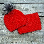 Шапки ручной работы. Ярмарка Мастеров - ручная работа Комплект зимний шапка и снуд. Handmade.