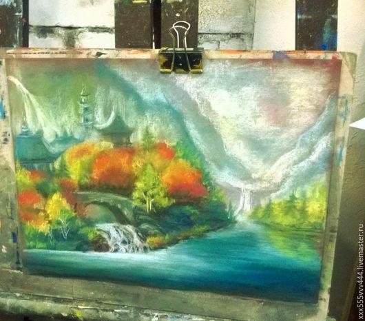 Пейзаж ручной работы. Ярмарка Мастеров - ручная работа. Купить картина-восточные мотивы пастель. Handmade. Комбинированный, восток, водопад
