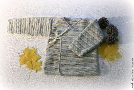 Одежда унисекс ручной работы. Ярмарка Мастеров - ручная работа. Купить Детский кардиган Кимоно, связан крючком. Handmade. Разноцветный
