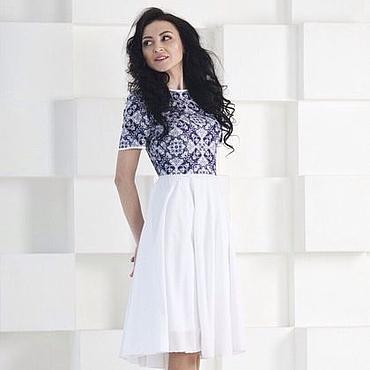 Одежда ручной работы. Ярмарка Мастеров - ручная работа Бело-синее платье , летнее белое платье. Handmade.