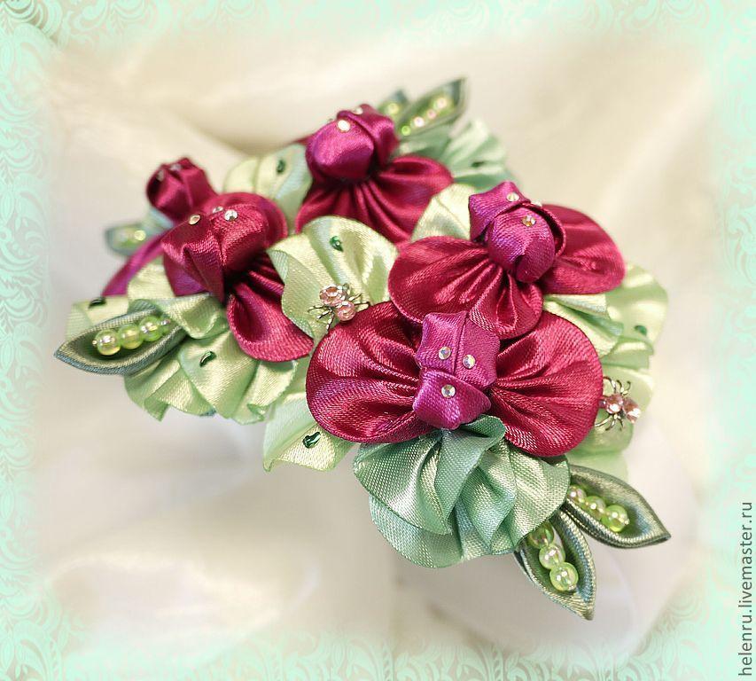 Горошек обруч цветы из ткани алена