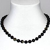 Украшения handmade. Livemaster - original item The black beads in natural Golden obsidian. Handmade.
