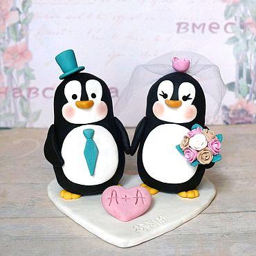 Свадебный салон ручной работы. Ярмарка Мастеров - ручная работа Фигурки на свадебный торт Пингвины. Handmade.