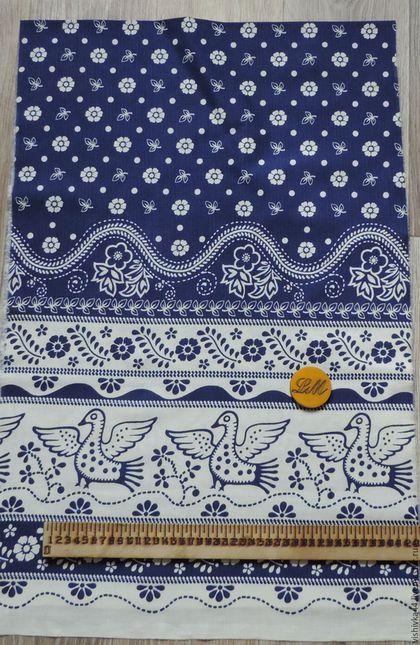 Шитье ручной работы. Ярмарка Мастеров - ручная работа. Купить ткань лен хлопок птица счастья синяя. Handmade. Лен
