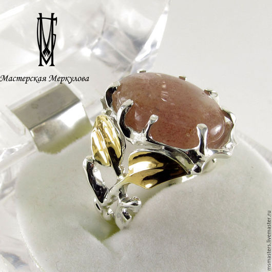 Кольца ручной работы. Ярмарка Мастеров - ручная работа. Купить Перстень с вишневым авантюрином. Handmade. Серебряный, подарок