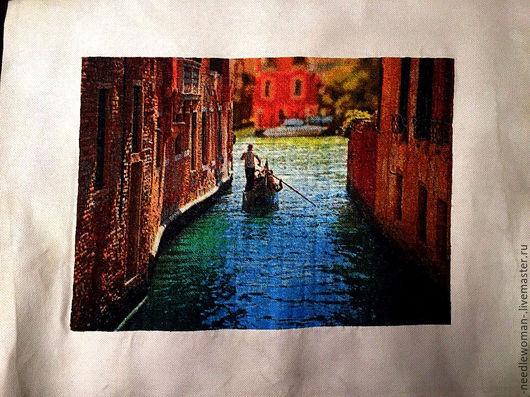 Пейзаж ручной работы. Ярмарка Мастеров - ручная работа. Купить Венеция. Handmade. Комбинированный, Вышивка крестом, средиземноморский стиль, мулине