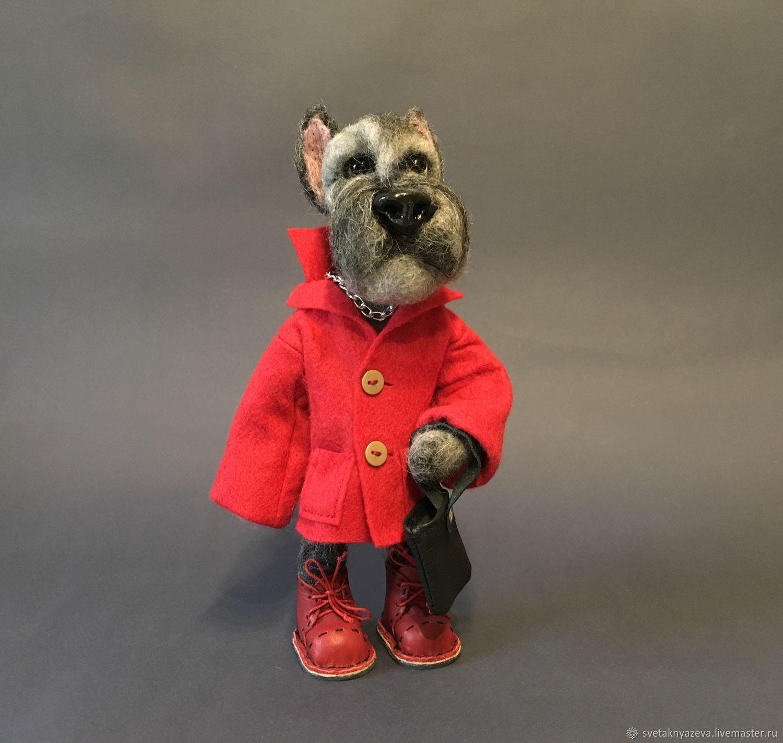Войлочная игрушка. Собака. Миттельшнауцер. Игрушка из шерсти, Войлочная игрушка, Москва,  Фото №1