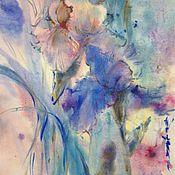Картины и панно ручной работы. Ярмарка Мастеров - ручная работа Акварель с ирисами. Handmade.