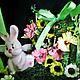 Topiary handmade. Topiary 'Shabby rabbit'. Anghelina Kodryan. My Livemaster.Green, gifts for women, vintage plush, lace