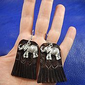 Украшения handmade. Livemaster - original item Earrings leather Elephants. Handmade.