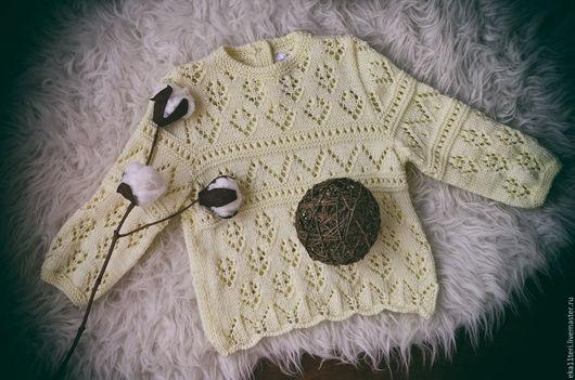 Одежда для девочек, ручной работы. Ярмарка Мастеров - ручная работа. Купить Ажурный свитерок. Handmade. Лимонный, ажур, детский свитер