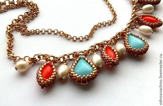 """Колье, бусы ручной работы. Ярмарка Мастеров - ручная работа. Купить Ожерелье """"Кораллово-бирюзовый винтаж"""". Handmade. Ожерелье, элоксал"""