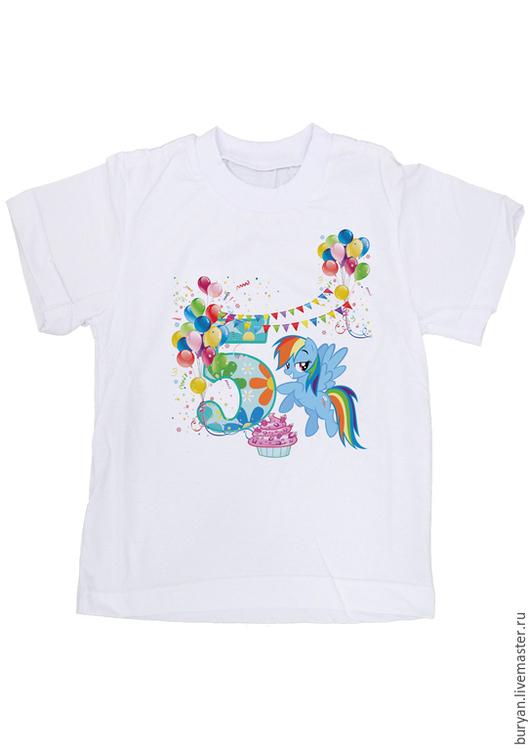 """Одежда для девочек, ручной работы. Ярмарка Мастеров - ручная работа. Купить Детская футболка """"Пони радуга"""". Handmade. Белый"""