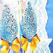 Свадебный салон ручной работы. Ярмарка Мастеров - ручная работа Свадебные бокалы синий-оранжевый с росписью. Handmade.