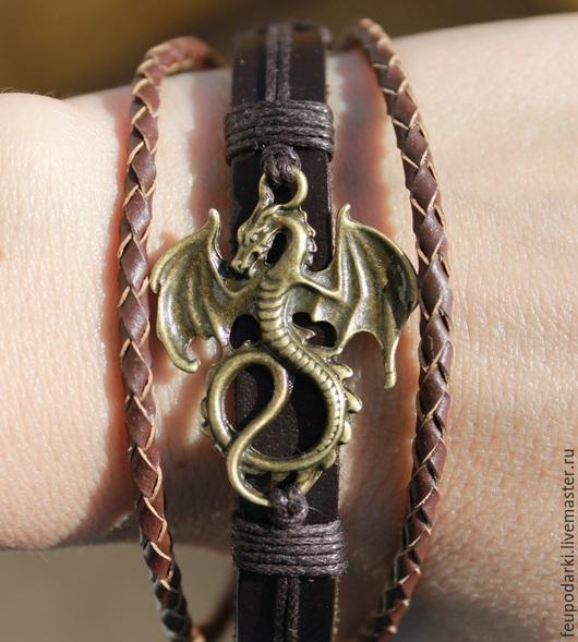 """Браслеты ручной работы. Ярмарка Мастеров - ручная работа. Купить Кожаный браслет """"Dragon"""". Handmade. Коричневый, браслет на руку"""