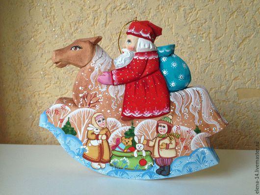 Новый год 2017 ручной работы. Ярмарка Мастеров - ручная работа. Купить Дед мороз на коне. Handmade. Дед мороз