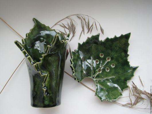 """Ванная комната ручной работы. Ярмарка Мастеров - ручная работа. Купить """"Виноградные листья"""" набор для ванной. Handmade. Тёмно-зелёный"""