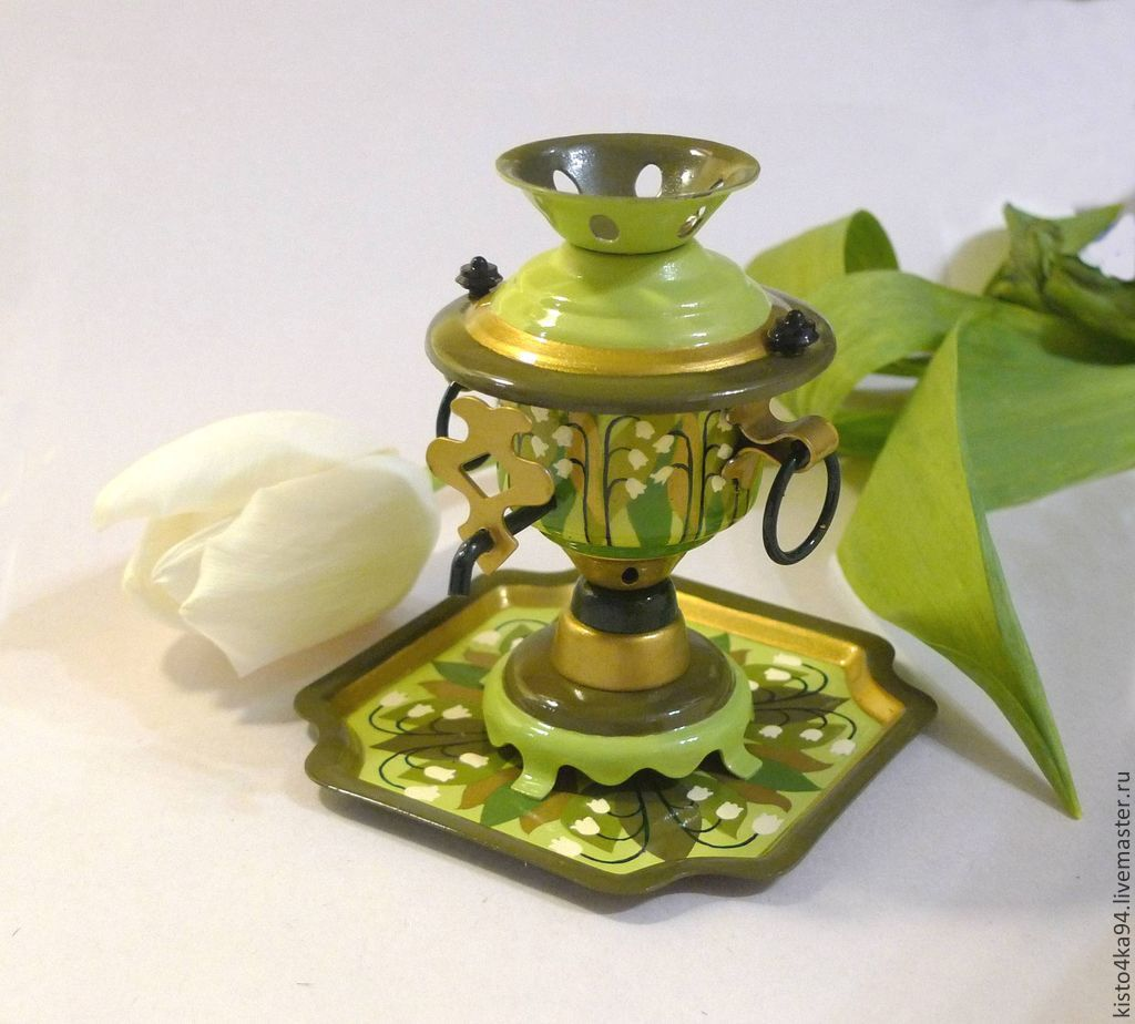 souvenir decorative samovar samovar on a small tray with original painted flowers Lily of the valley decoration kitchen decor kitchens dining room the samovar is painted gift collectors