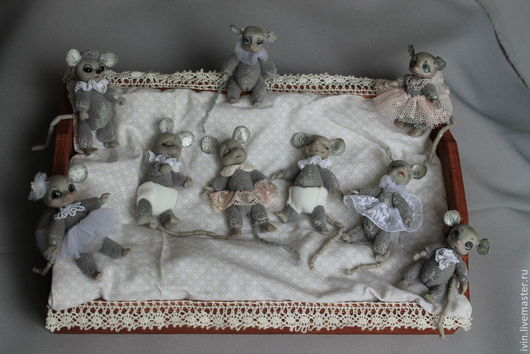 Миниатюра ручной работы. Ярмарка Мастеров - ручная работа. Купить Перламутровые мышата.. Handmade. Серый, пластик