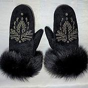 Аксессуары handmade. Livemaster - original item Winter mittens with designer embroidery. Handmade.