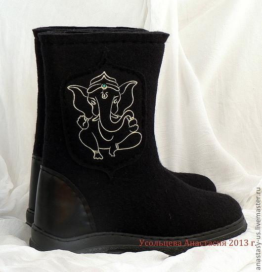 Обувь ручной работы. Ярмарка Мастеров - ручная работа. Купить Сапоги валяные мужские. Handmade. Черный