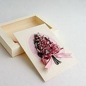 Открытки ручной работы. Ярмарка Мастеров - ручная работа Розовый букет. Авторская открытка в коробочке. Handmade.