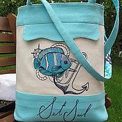Сумки и аксессуары ручной работы. Ярмарка Мастеров - ручная работа Морская бирюзовая текстильная сумка с вышивкой. Handmade.
