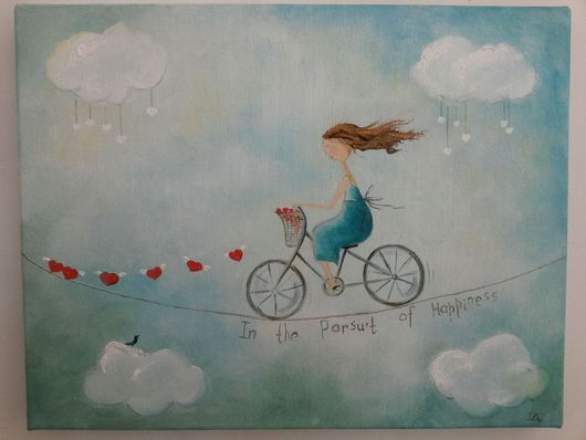 """Люди, ручной работы. Ярмарка Мастеров - ручная работа. Купить Картина маслом """"В погоне за счастьем..."""". Handmade."""