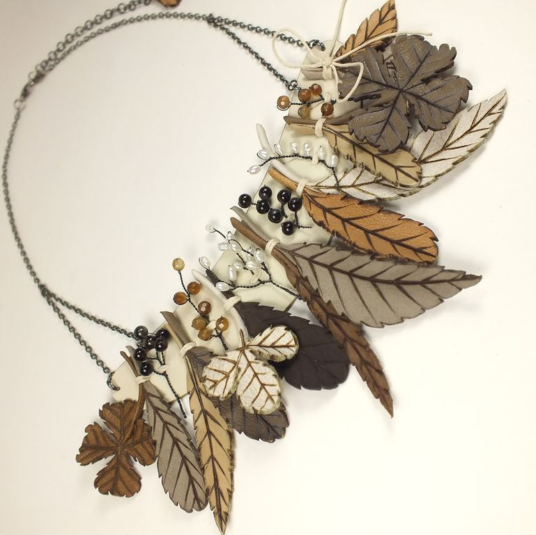 September Herbarium. Necklace made of genuine leather, Necklace, St. Petersburg,  Фото №1