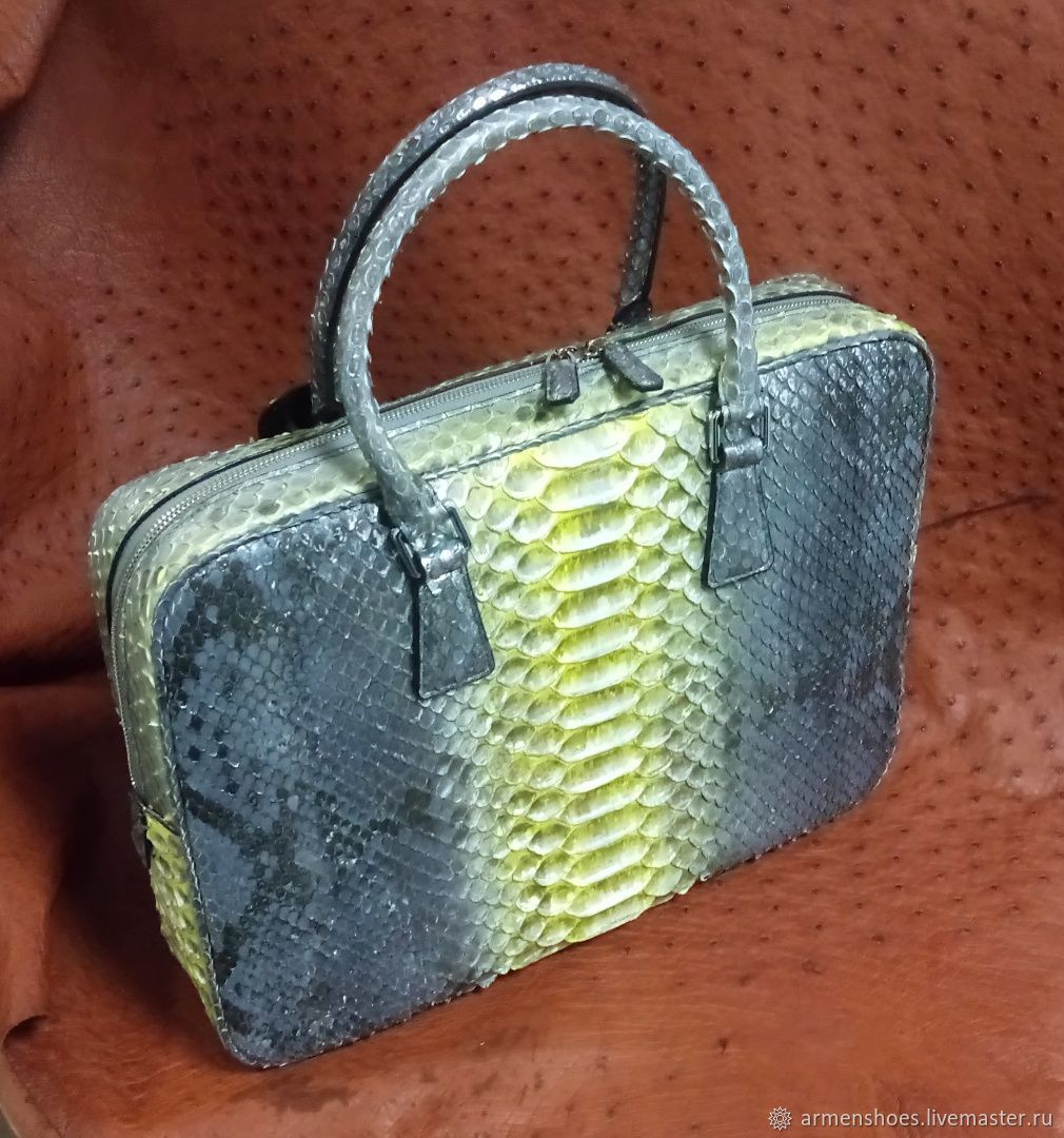 Python leather briefcase bag, exclusive hand painting, Tablet bag, Tosno,  Фото №1