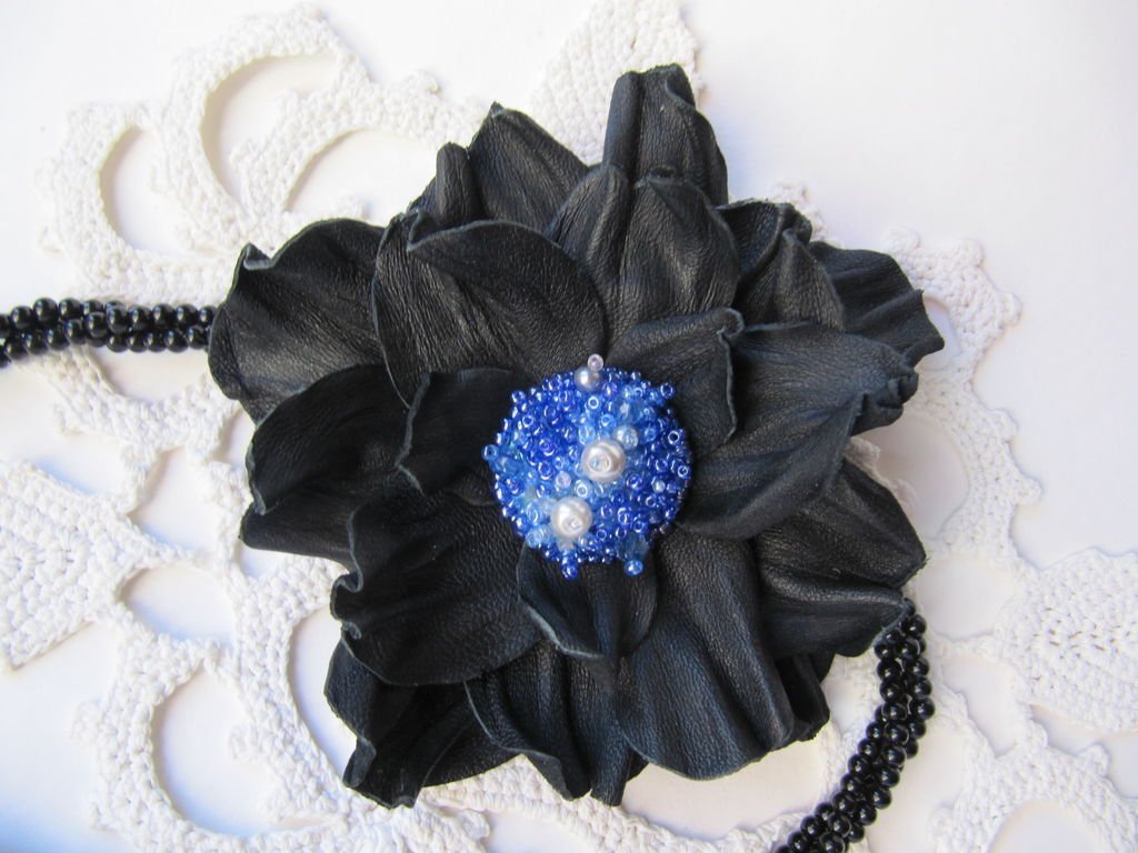Decoration for girls. Beautiful decoration. Brooch of leather handmade. Italian leather. Author's brooch is handmade. xandmead Brooch, hair clip with flower made of genuine leather
