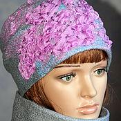 Аксессуары handmade. Livemaster - original item Hat female..felted..gray-pink