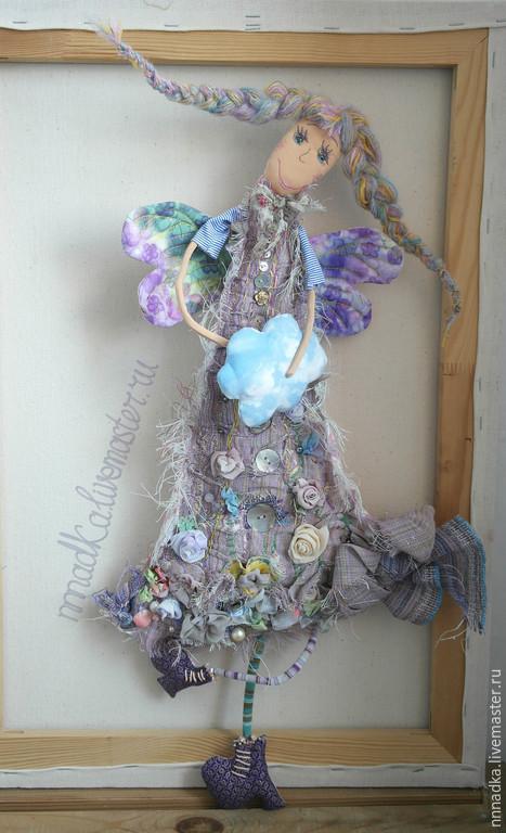Коллекционные куклы ручной работы. Ярмарка Мастеров - ручная работа. Купить Лоскутик и облачко. Handmade. Кукла, кукла панно, облако