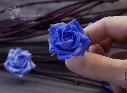 """Заколки ручной работы. Ярмарка Мастеров - ручная работа. Купить Шпильки с розами """"Rose blu"""". Флористическая глина.. Handmade. Синий"""