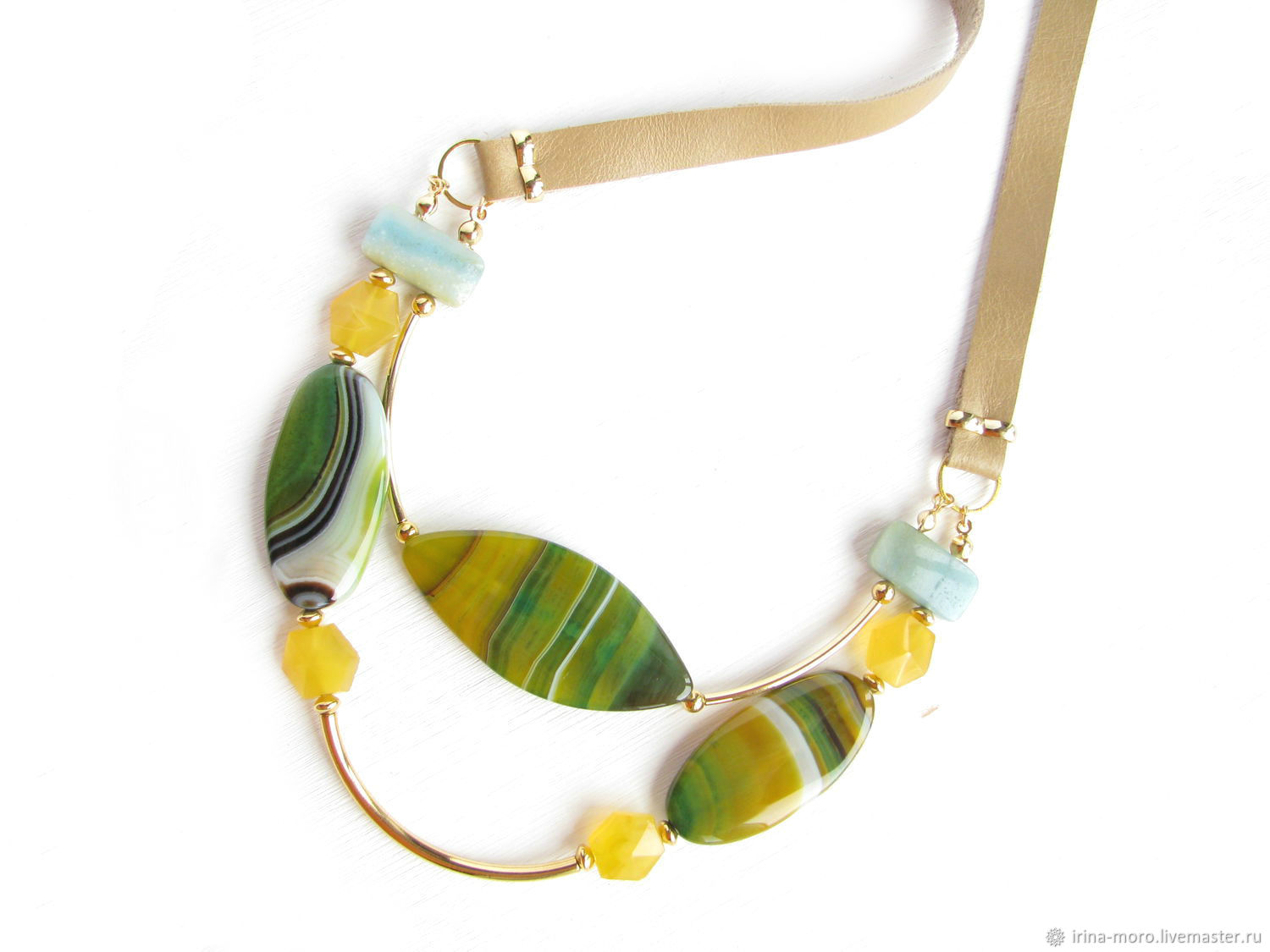 Necklace with onyx and amazonite 'Sparks of heat' yellow, green, Necklace, Moscow,  Фото №1