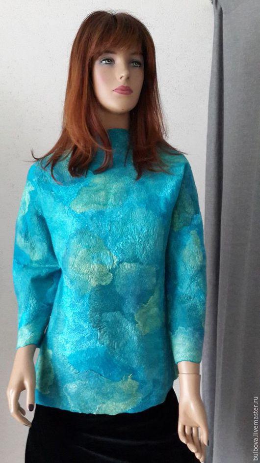 Кофты и свитера ручной работы. Ярмарка Мастеров - ручная работа. Купить Свитшот Лазурно-голубой. Handmade. Тёмно-бирюзовый, лазурный
