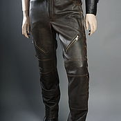Мужская одежда handmade. Livemaster - original item Men`s leather moto pants made of thick leather with lacing. Handmade.