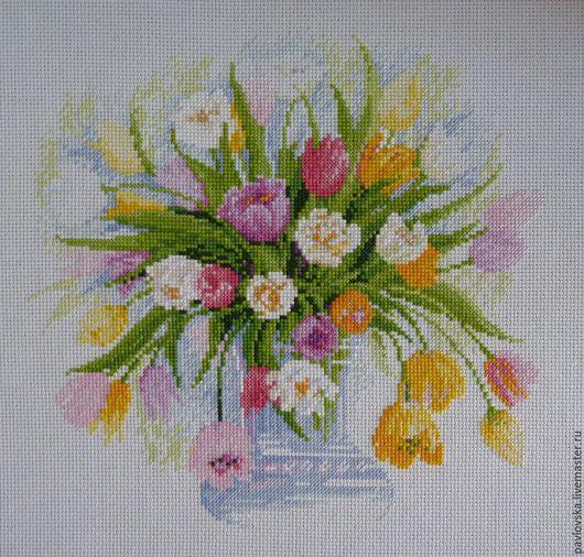 """Картины цветов ручной работы. Ярмарка Мастеров - ручная работа. Купить Вышитая картина """"Акварельные тюльпаны"""". Handmade. Разноцветный"""