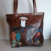 Сумки и аксессуары handmade. Livemaster - original item Leather bag. Shopper bag People in the rain brown. Handmade.