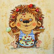 """Картины и панно ручной работы. Ярмарка Мастеров - ручная работа Ежиные истории """"Сладкоежка"""". Handmade."""