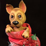 Подарки к праздникам ручной работы. Ярмарка Мастеров - ручная работа Новогодний щенок. Символ нового года. Фом Эва. Handmade.
