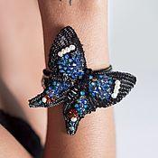 Украшения ручной работы. Ярмарка Мастеров - ручная работа Чёрный браслет с бабочкой, Viva la vida, с кристаллами и пайетками. Handmade.