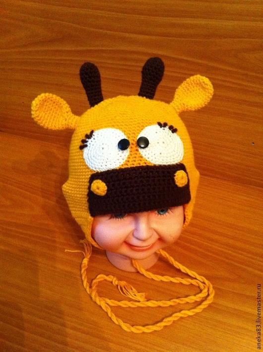 """Шапки и шарфы ручной работы. Ярмарка Мастеров - ручная работа. Купить Шапочка """"Жирафик"""". Handmade. Желтый, для девочки, жирафик, хлопок"""