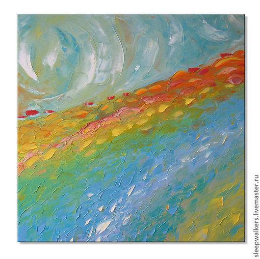 """Пейзаж ручной работы. Ярмарка Мастеров - ручная работа. Купить """"Sunrise"""" 65х65 см картина маслом мастихином пейзаж деревенский. Handmade."""